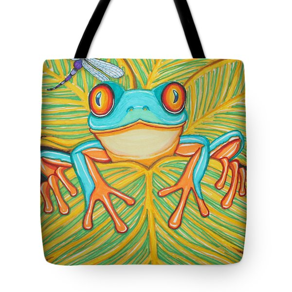 Red Eyed Tree Frog And Dragonfly Tote Bag by Nick Gustafson