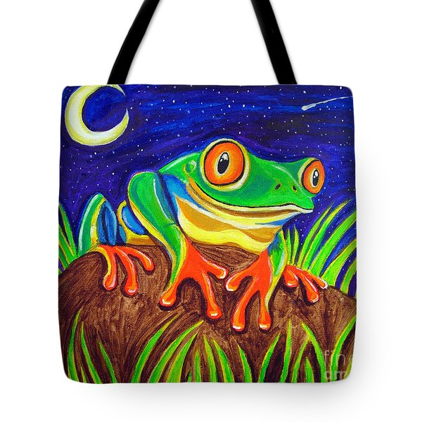 Red-eyed Tree Frog And Starry Night Tote Bag by Nick Gustafson