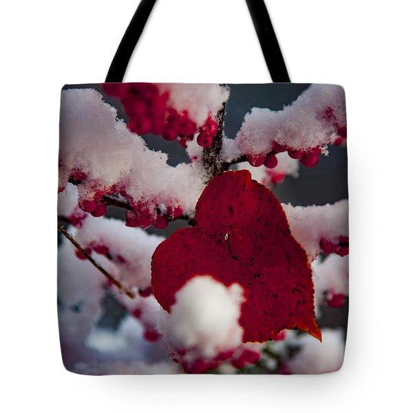 Red Fall Leaf On Snowy Red Berries Tote Bag