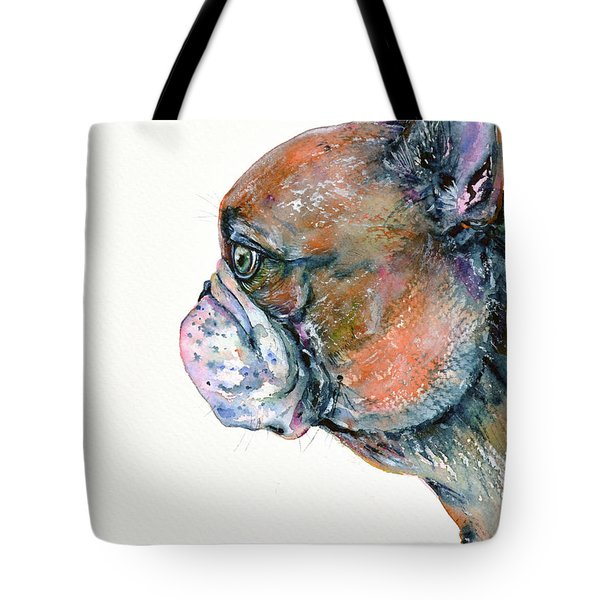 Tote Bag featuring the painting Red Fawn Frenchie by Zaira Dzhaubaeva