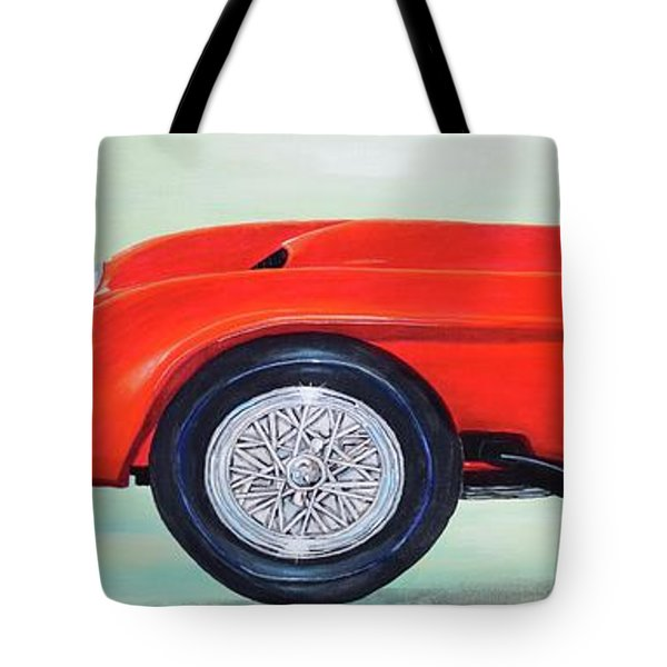 Tote Bag featuring the painting Red Ferrari by Mary Scott