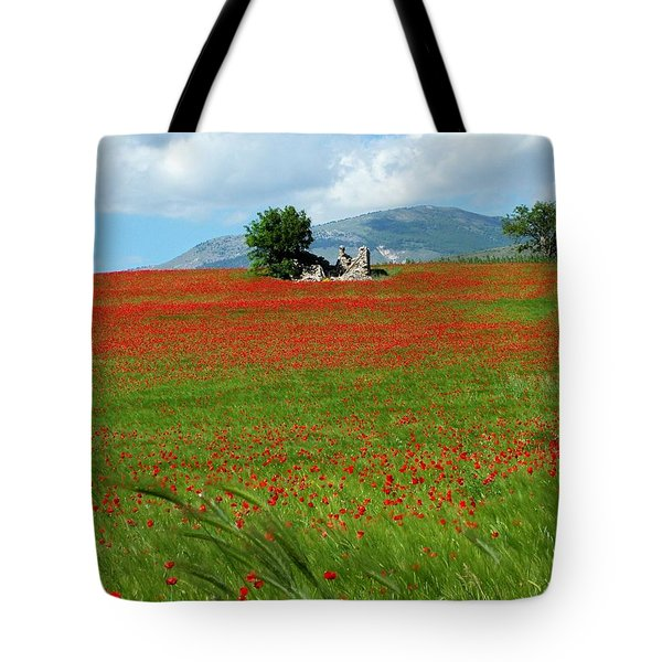 Red Fields Tote Bag by Judy Kirouac