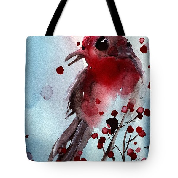 Red Finch In The Winterberry Tote Bag by Dawn Derman