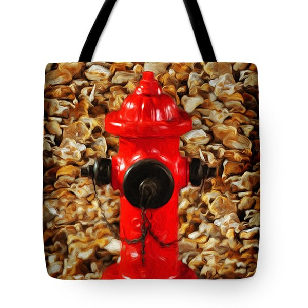Tote Bag featuring the photograph Red Fire Hydrant by Andee Design