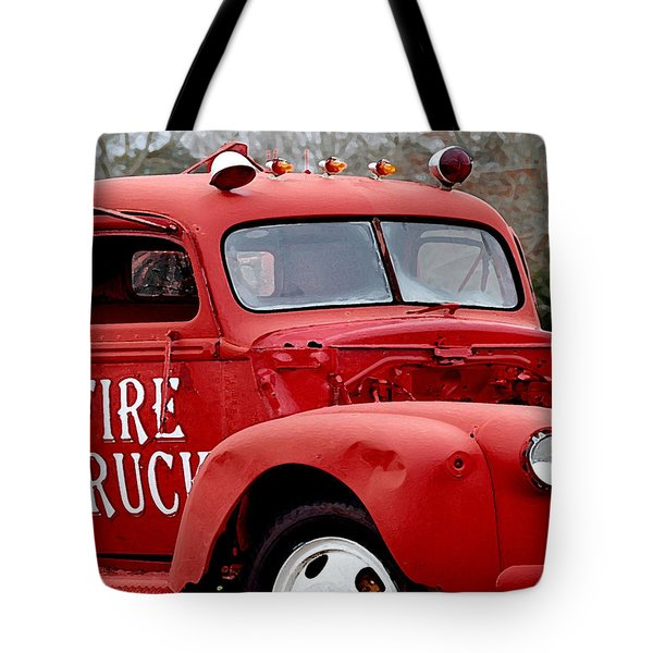 Red Fire Truck Tote Bag by Michael Thomas