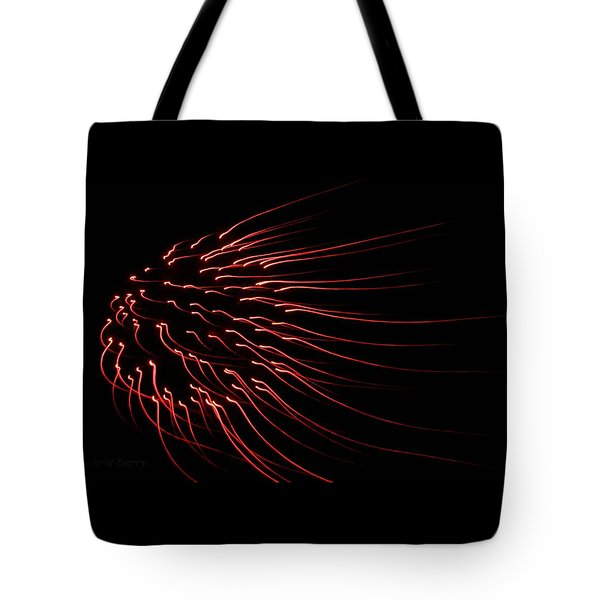 Tote Bag featuring the photograph Red Firework  by Chris Berry