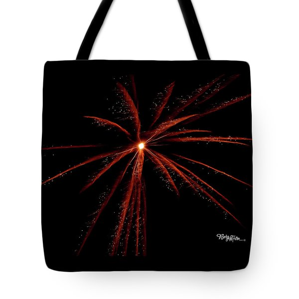 Tote Bag featuring the photograph Red Fireworks #0699 by Barbara Tristan