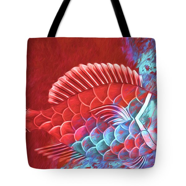 Red Fish Into The Blue Tote Bag