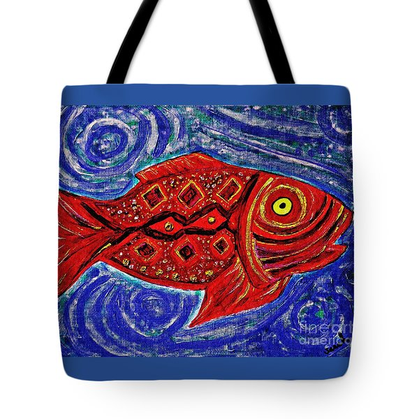 Red Fish Tote Bag by Sarah Loft