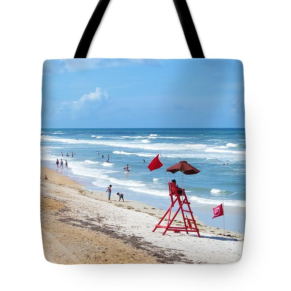 Red Flag Warning Tote Bag by Tim Townsend