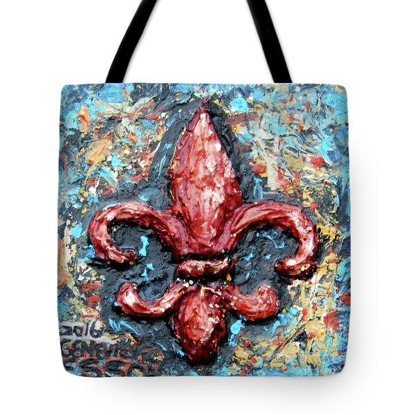 Tote Bag featuring the painting Red Fleur De Lis by Genevieve Esson
