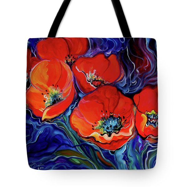 Red Floral Abstract Tote Bag by Marcia Baldwin
