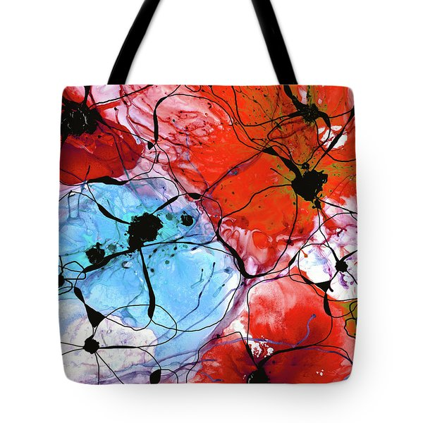 Red Floral Art - Wild Flowers - Sharon Cummings Tote Bag