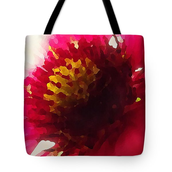 Red Flower Abstract Tote Bag