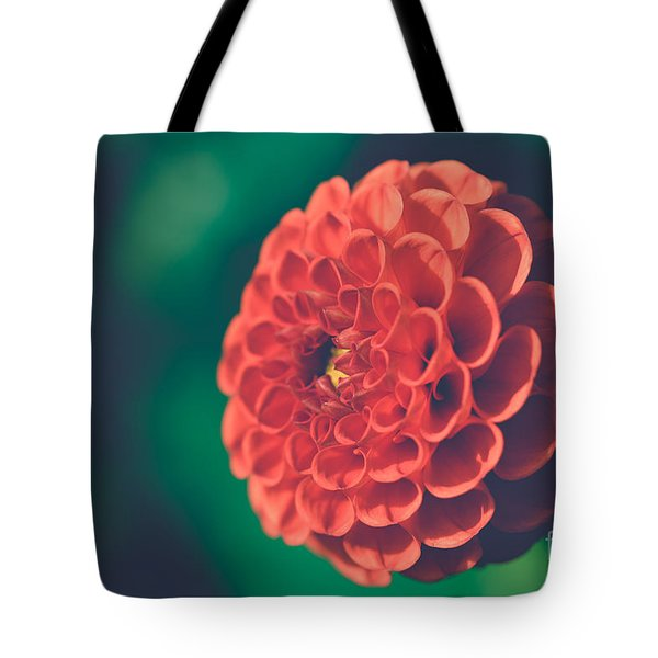 Red Flower Against Greenery Tote Bag