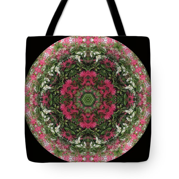 Red Flower Faces Kaleidoscope Tote Bag