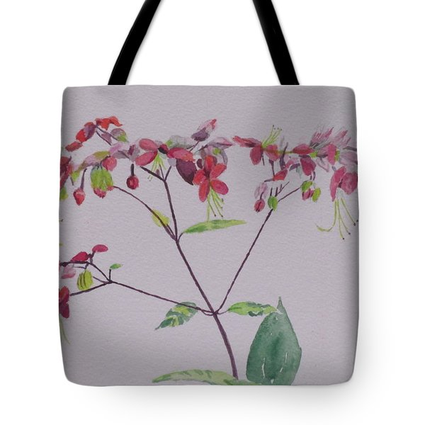 Tote Bag featuring the painting Red Flower Vine by Hilda and Jose Garrancho