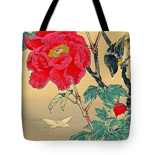 Red Flower With Bird 1870 Tote Bag by Padre Art