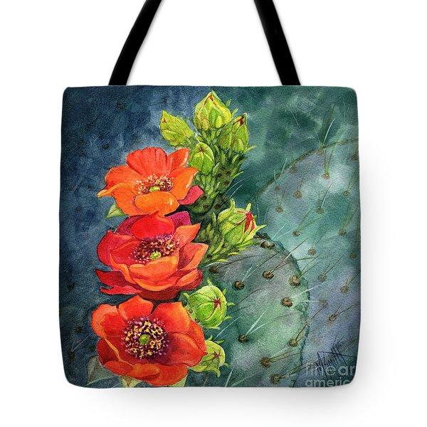 Red Flowering Prickly Pear Cactus Tote Bag