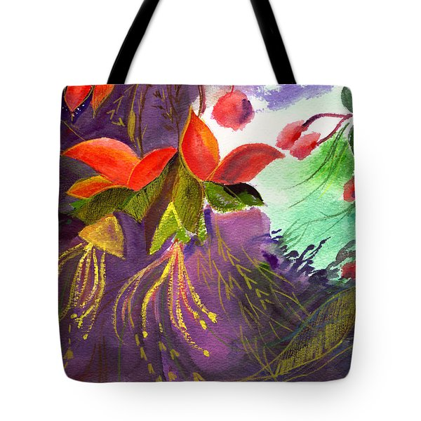 Red Flowers Tote Bag by Anil Nene