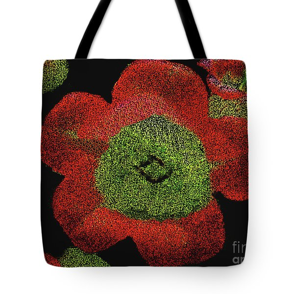 Tote Bag featuring the digital art Red Flowers - Hand Painted Then Digitally Pointillized by Merton Allen