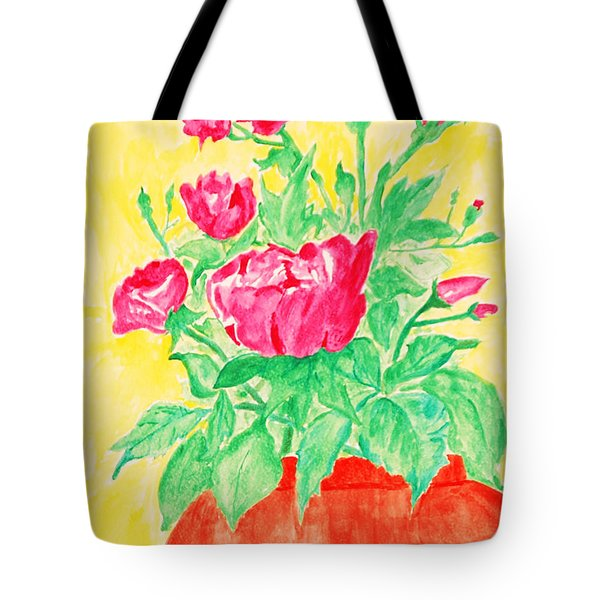 Red Flowers In A Brown Vase Tote Bag