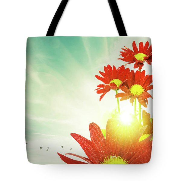 Tote Bag featuring the photograph Red Flowers Spring by Carlos Caetano