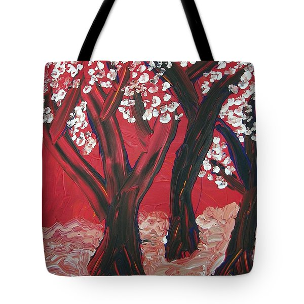 Tote Bag featuring the painting Red Forest by Joshua Redman