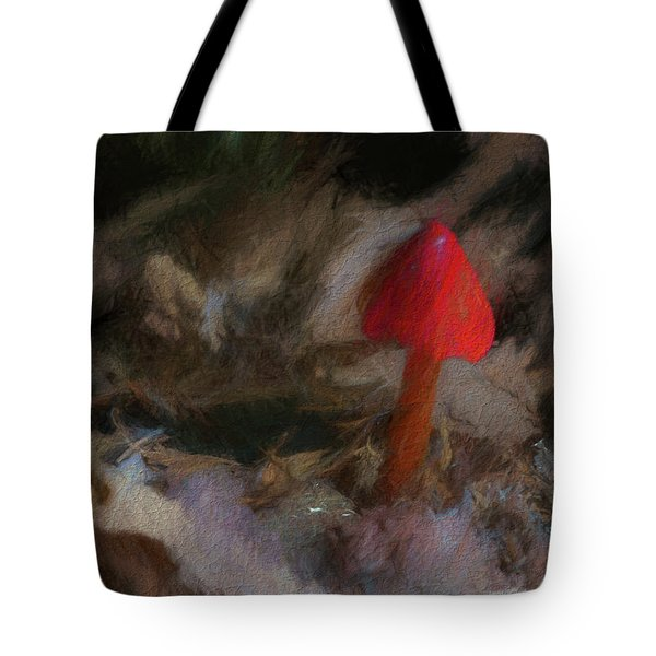 Red Forest Mushroom Tote Bag