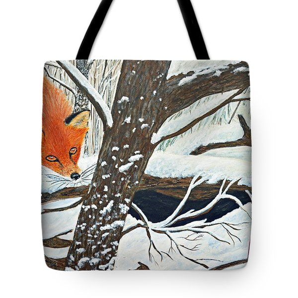 Red Fox And Cardinal Tote Bag