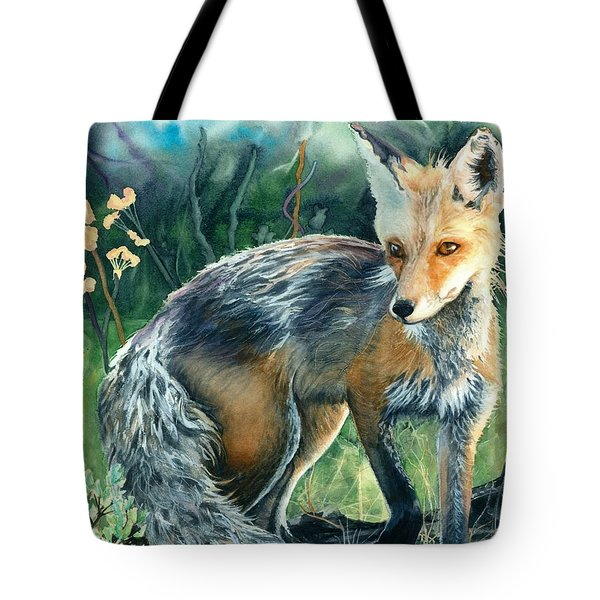 Tote Bag featuring the painting Red Fox- Caught In The Moment by Barbara Jewell