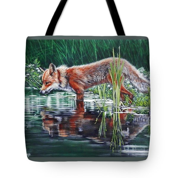 Tote Bag featuring the painting Red Fox Reflecting by John Neeve