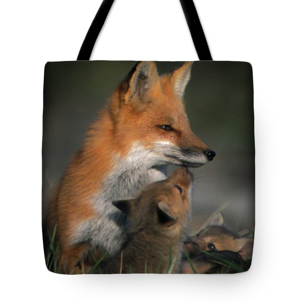 Tote Bag featuring the photograph Red Fox Mother And Kits by Jeff Phillippi