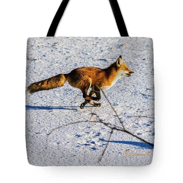 Red Fox On The Run Tote Bag