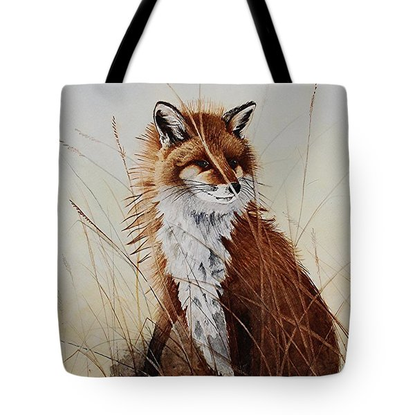 Red Fox Waiting On Breakfast Tote Bag by Jimmy Smith