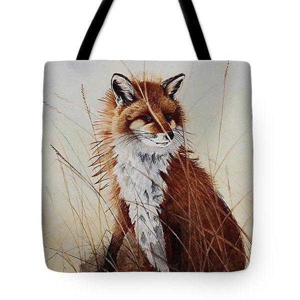 Red Fox Waiting On Breakfast Tote Bag