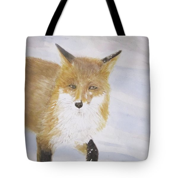 Red Fox Walk Tote Bag