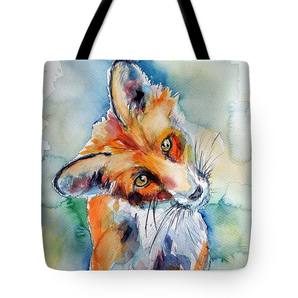Red Fox Watching Tote Bag