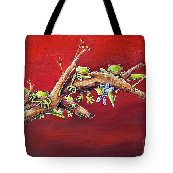 Red Frogs Tote Bag