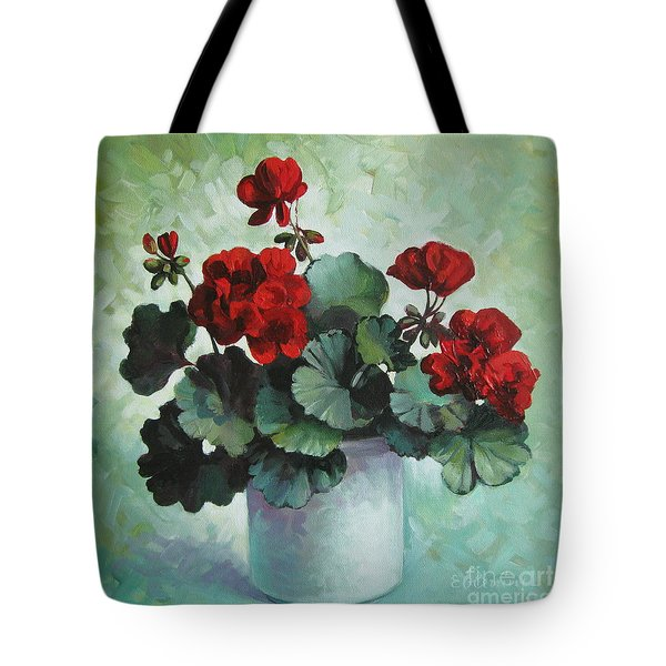 Tote Bag featuring the painting Red Geranium by Elena Oleniuc