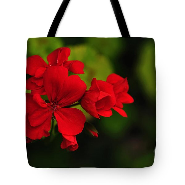 Red Geranium Tote Bag by Kaye Menner