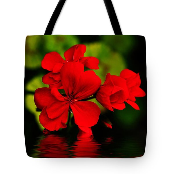 Red Geranium On Water Tote Bag