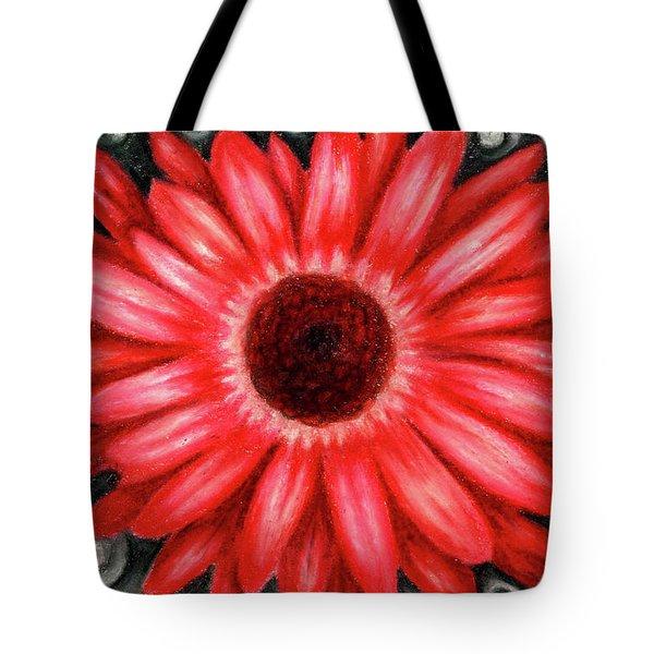 Red Gerbera Daisy Drawing Tote Bag