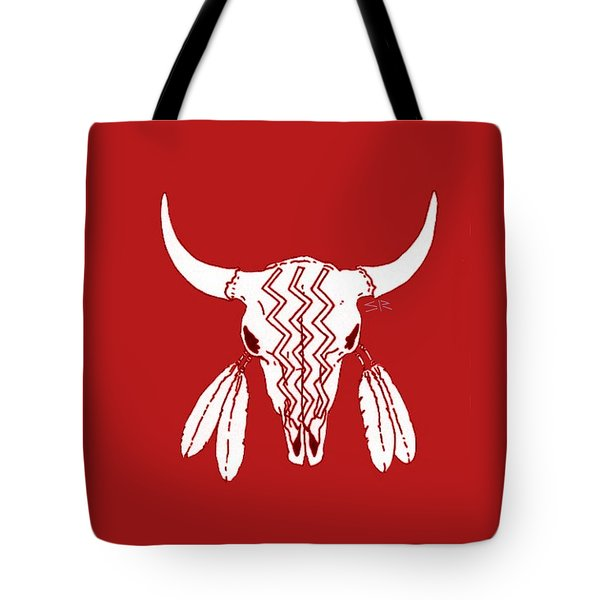 Red Ghost Dance Buffalo Tote Bag by Steamy Raimon