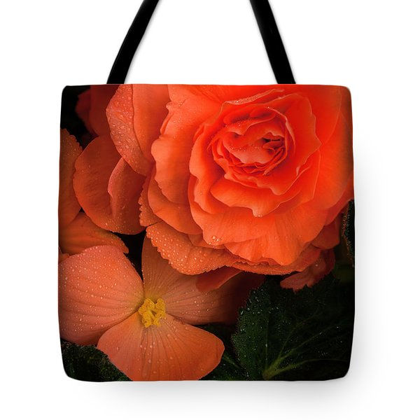 Red Giant Begonia Ruffle Form Tote Bag