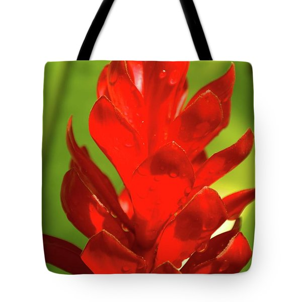 Red Ginger Bud After Rainfall Tote Bag