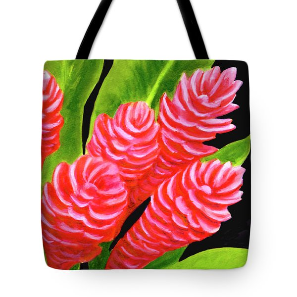 Red Ginger Flowers #235 Tote Bag by Donald k Hall
