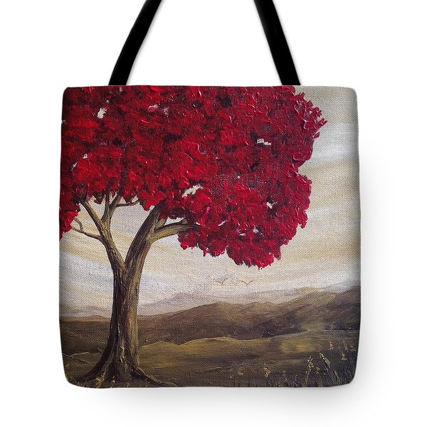 Red Glory Tote Bag by T Fry-Green