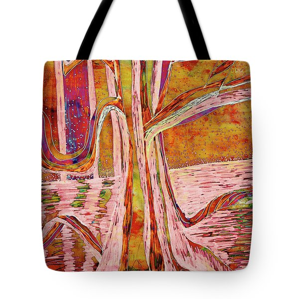 Red-gold Autumn Glow River Tree Tote Bag