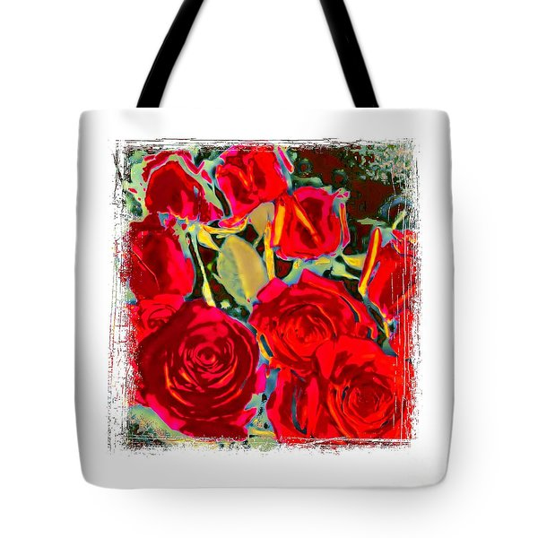 Red Gold Rosed Tote Bag by Shirley Moravec